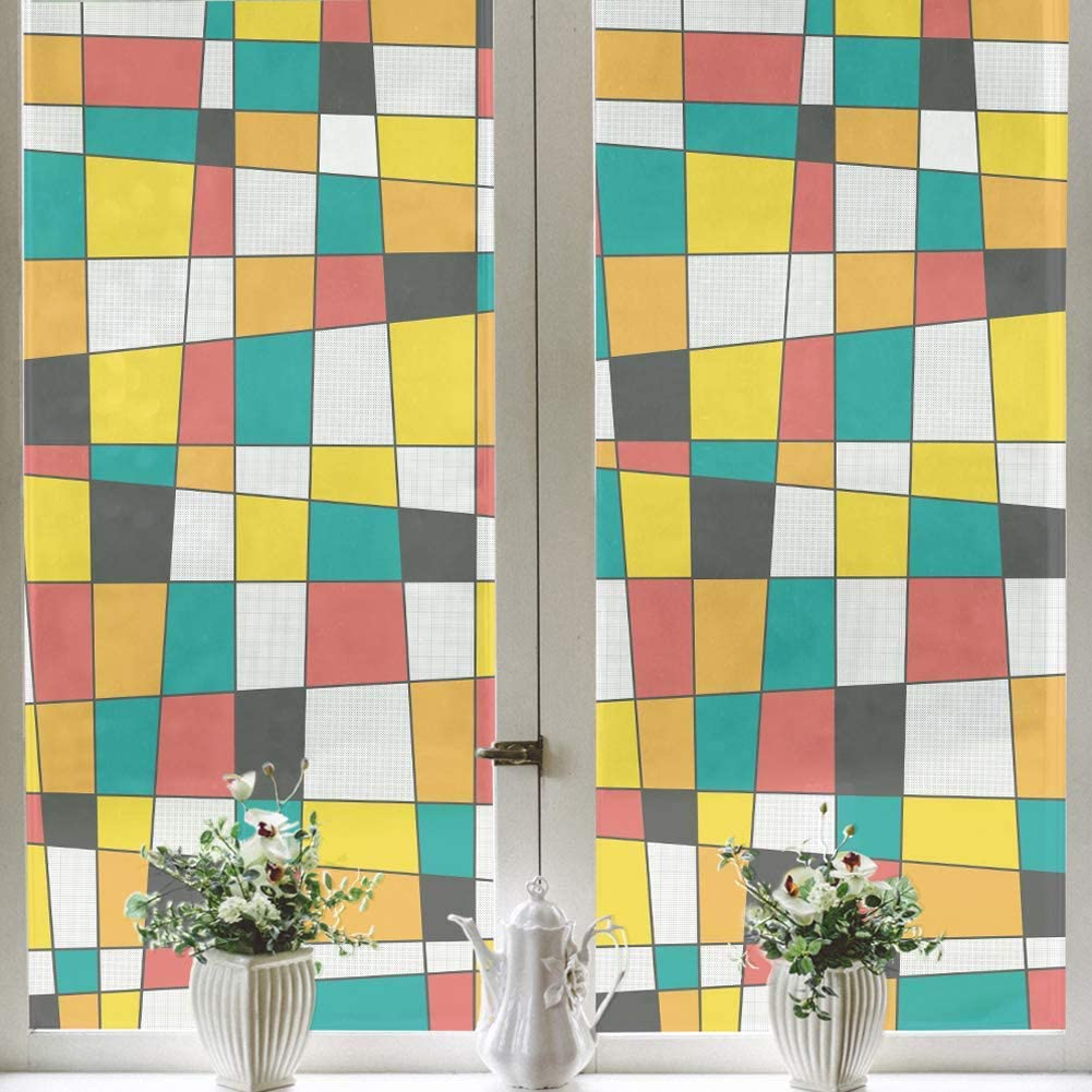 FCSFSF Privacy Window Film,Stain Glass Window Not-Adhesive Static Cling Glass Sticker,Heat Control Prevent Bird Strikes Window Tints D 45x58cm(18x23inch)