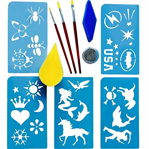 [FACE PAINT STENCILS Tool Kit Supplies,BONUS GIFT Bag, BEST 28 Boys/Girls Reusable Designs, Body Painting Stencil Accessory Set:Brushes, Sponges,Glitter. Kids,Santa loves it, LIMITED] (Ideas For Halloween Costumes For Guys)
