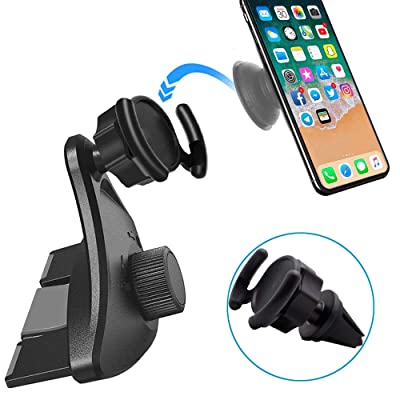 Car Phone Holder, CD Slot Player Car Mount Pop Clip, Air Vent Pop Holder, Universal Car Cradle for Cell-Phone with Pop Out Stand Compatible with iPhone X Xs Max XR 8 Plus Galaxy S10 S9