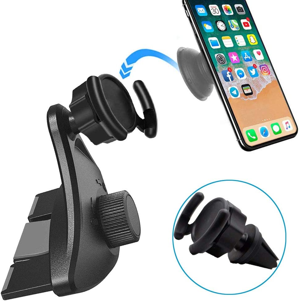Universal Car Cradle for Cell-Phone with Pop Out Stand Compatible with iPhone X Xs Max XR 8 Plus Galaxy S10 S9 Car Phone Holder Air Vent Pop Holder CD Slot Player Car Mount Pop Clip