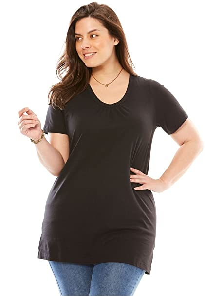 94f0e97f581 Woman Within Plus Size Perfect Shirred V-Neck Tunic at Amazon ...