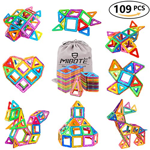 MIBOTE 109Pcs Magnetic Building Blocks Toys Educational Magnetic Tiles Set for Boys/Girls, Stacking Blocks for Toddler/Kids - All of Them are Strong Magnet
