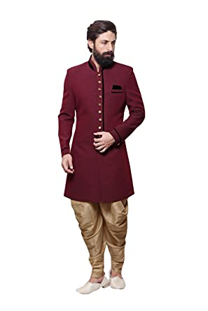 704a62c18a Indian Sherwani for Men Readymade Designer Partywear for Wedding Exclusive  Fashion Indo-Western Dress Maroon