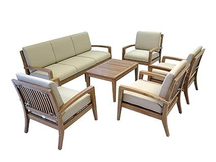 Amazon Com Ohana Teak Patio Furniture 7 Seater Conversation Set