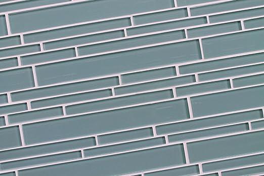 Seaside Aqua Linear Glass Mosaic Tiles for Kitchen Backsplash and Bathrooms