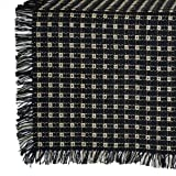 70 x 120 (Rectangle) Homespun Tablecloth, Hand Loomed, 100% Cotton, Black/Stone by Mountain Weavers