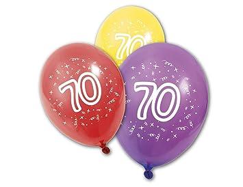 8 Globos látex cumpleaños 70 años: Amazon.es: Juguetes y juegos