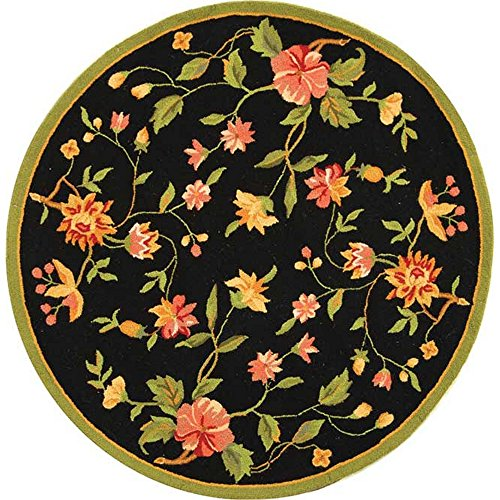 Safavieh Chelsea Collection HK263B Hand-Hooked Black Premium Wool Round Area Rug (3' Diameter)