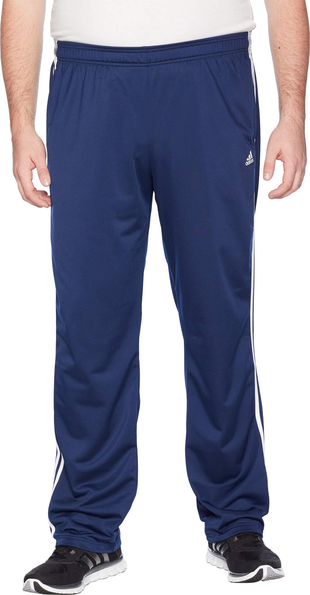 adidas Men's Big & Tall Essentials 3-Stripes Regular Fit Tricot Pants Collegiate Navy/White 1 Large 34 Tall 34