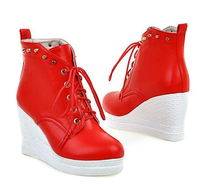 Amazon.com | Easemax Womens Trendy Rivets Lace Up Platform Round Toe High Wedge Heel Boots | Boots