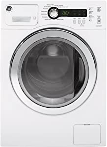 GE WCVH4800KWW 24 Inch Compact Front Load Washer with 2.2 cu. ft. Capacity, 10 Wash Cycles, 1400 RPM, Stainless Steel Drum, Wrinkle Prevent Option in White