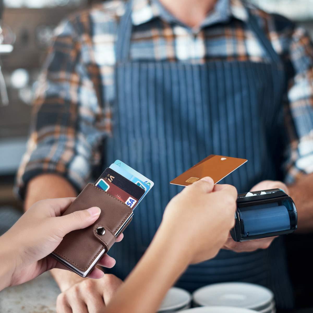 Bleu SECARIER Portefeuille Mince de Cr/édit avec Pince /à Billets de Protection RFID pour Hommes Porte Cartes en Cuir V/éritable