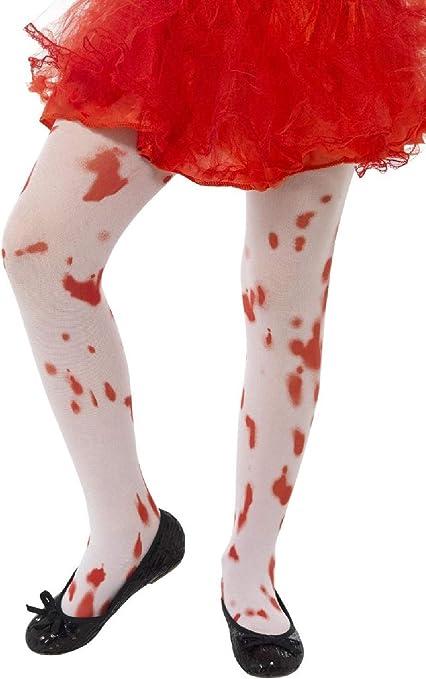 Ladies Halloween Themed Fancy Dress Blood Splattered Horror Costume Tights