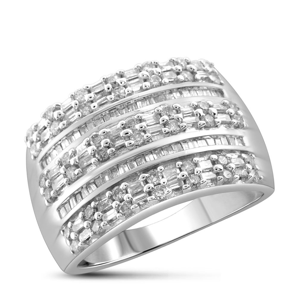 1.00 Carat T.W. White Diamond Sterling Silver Ring Size-7