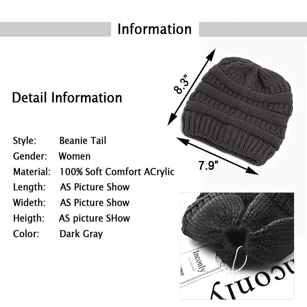 Amazon.com: Inconly Ponytail Beanie Warm Knit Messy High Bun ...