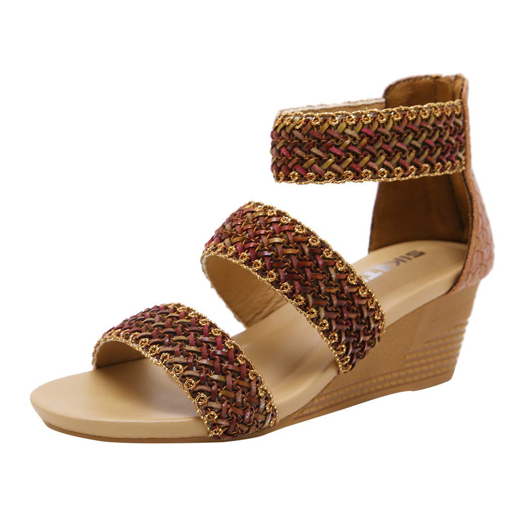 Women's Shoes for Women,SYHKS Women's Fashion Summer Casual Roma Zip High Heels Wedges Sandals Work Shoes Sandles for Women(Brown,40