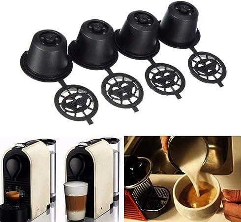 Hilai - 4 cápsulas de café reutilizables y recargables con cuchara para máquinas Nespresso: Amazon.es: Hogar