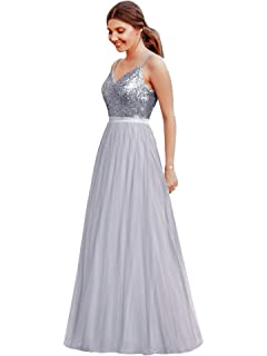 f02d7b13b897 Ever Pretty Women's A Line V Neck Floor Length Long Prom Dresses with  Sequin Bust 07392