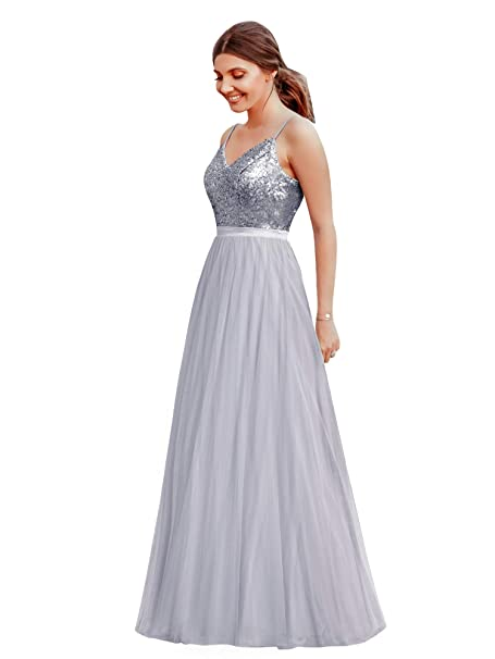 a932272aad7 Ever-Pretty Vestido de Fiesta Noche Largo para Mujer Cuello V Espalda  Descubierta Brillante 07392  Amazon.es  Ropa y accesorios