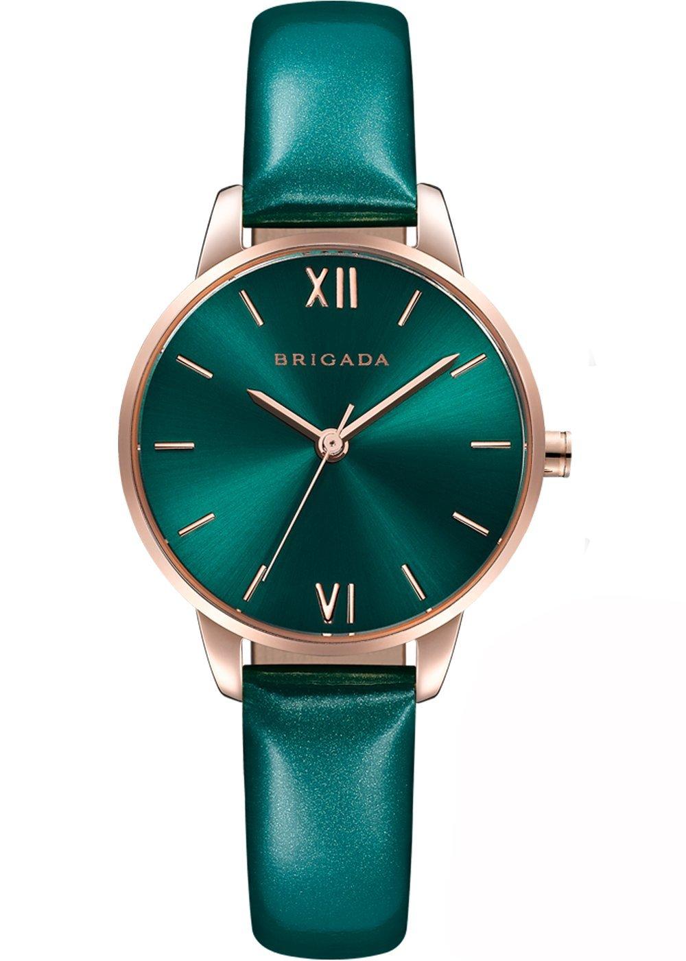 Nice Fashion Lively Green Ladies' Dress Quartz Wrist Watch Swiss Brand Waterproof Rose Gold Case Small Wrist Women Watch Matching for Green Wear
