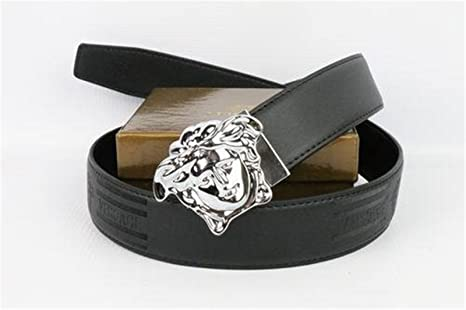 Authentic Versace Belt Medusa Head Silver Buckle Coffee