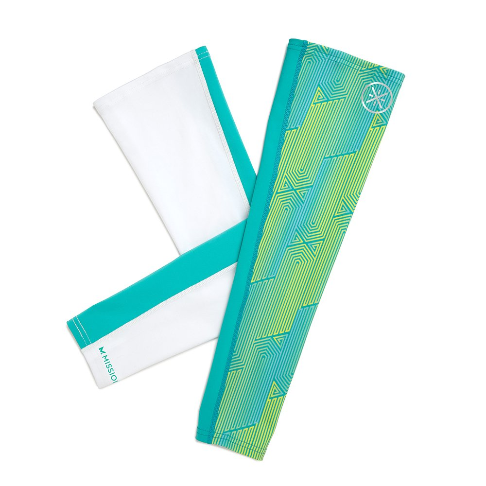 Mission X Wade Collection Men's Cooling Compression Arm Sleeves, Aqua Maze Yellow/White, Large/X-Large