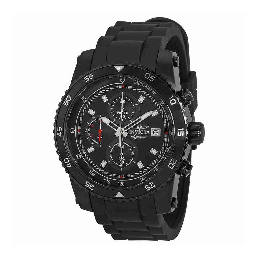 Invicta Signature II Chronograph Black Dial Black Rubber Mens Watch 7454