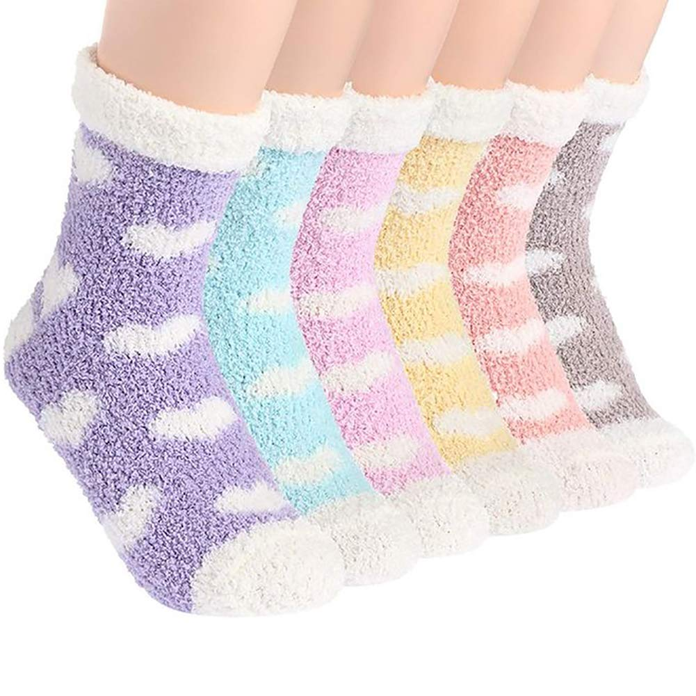 Womens Super Soft Fuzzy Cozy Home Sleeping Socks Microfiber Winter Warm Slipper Socks Colorful Fuzzy Scoks for Women 6 Pairs