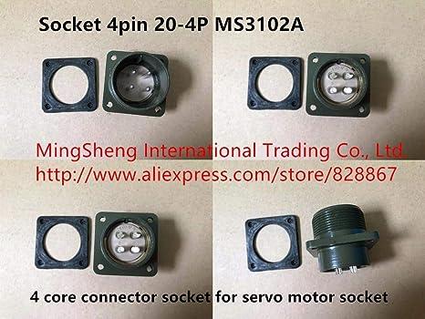 Davitu Original new 100% socket 4pin 20-4P MS3102A 4 core connector socket for servo motor socket - - Amazon.com