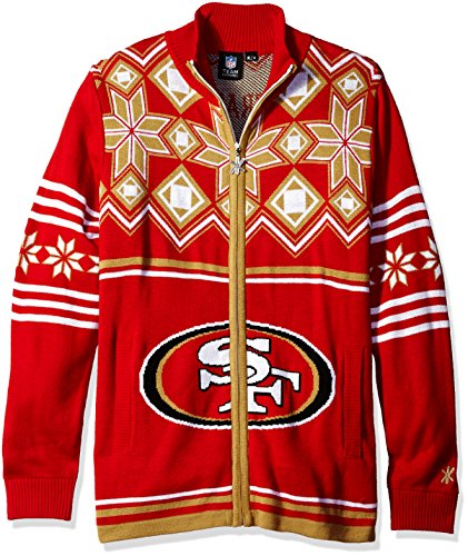 (San Francisco 49ers Split Logo Ugly Sweater Jacket Medium)
