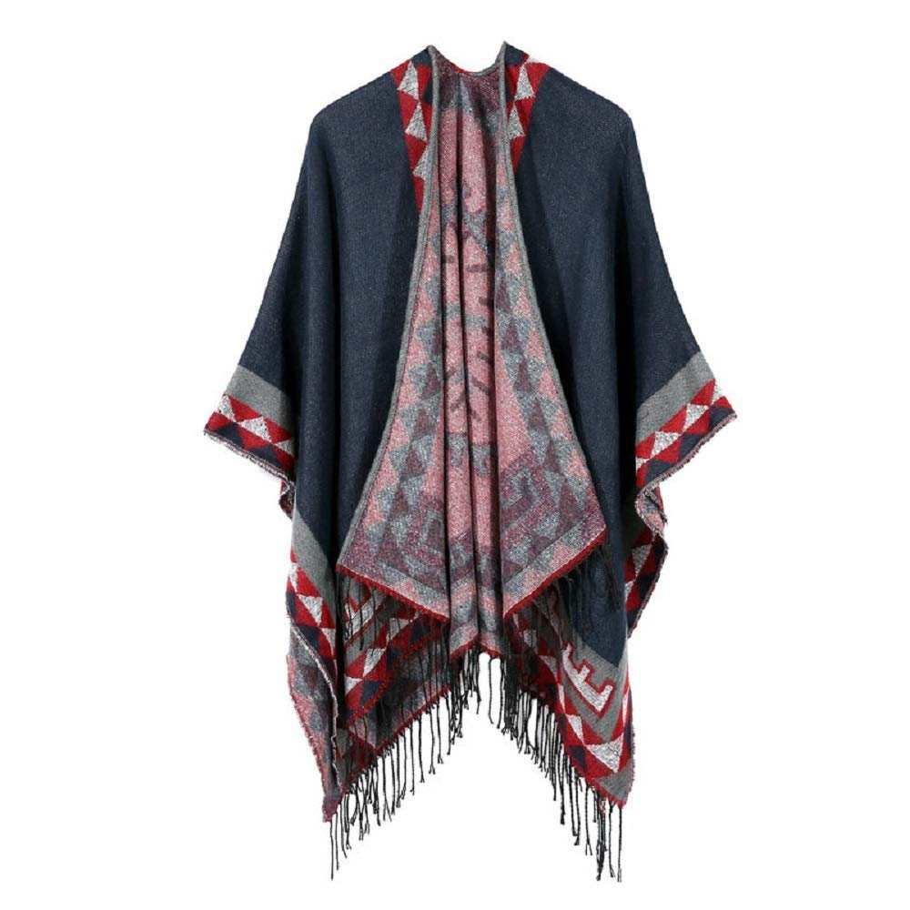 Excellent Women's Fall Winter Scarf Cloak Tassel Cape Mantle Scarf Quick Balmy Kerchief Wrap Shawl Scarves (Color : Blue, Size : 51.1 x 59.06 Inch') by Excellent