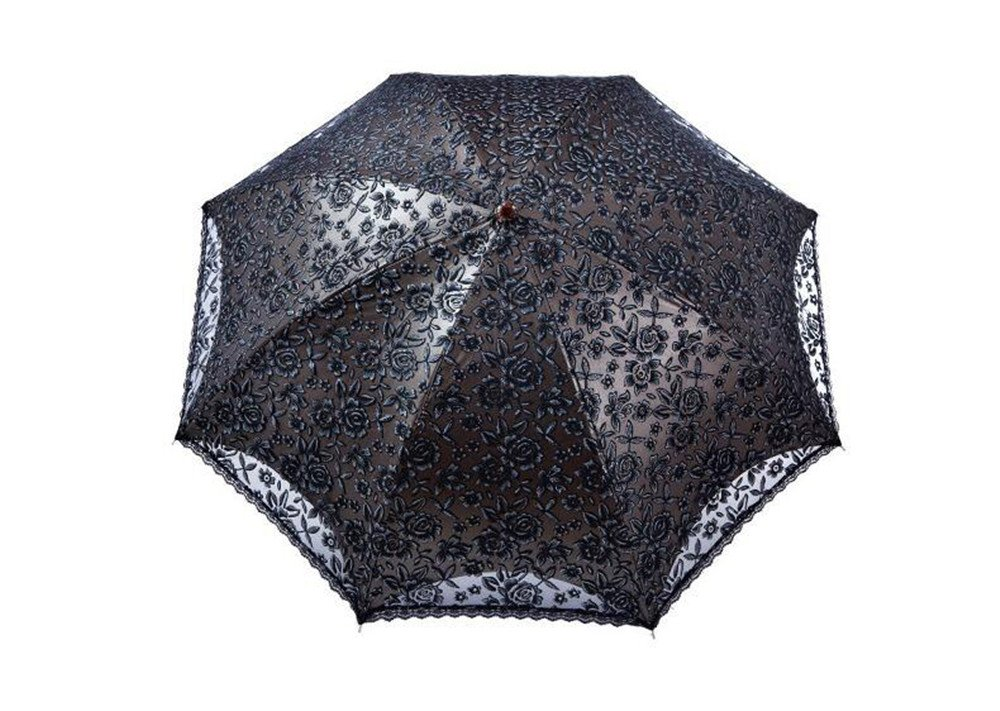 Vintage Style Parasols and Umbrellas Ladies Umbrella Lace Parasol Sun UV Protection UPF50+ Canopy-Black $55.99 AT vintagedancer.com