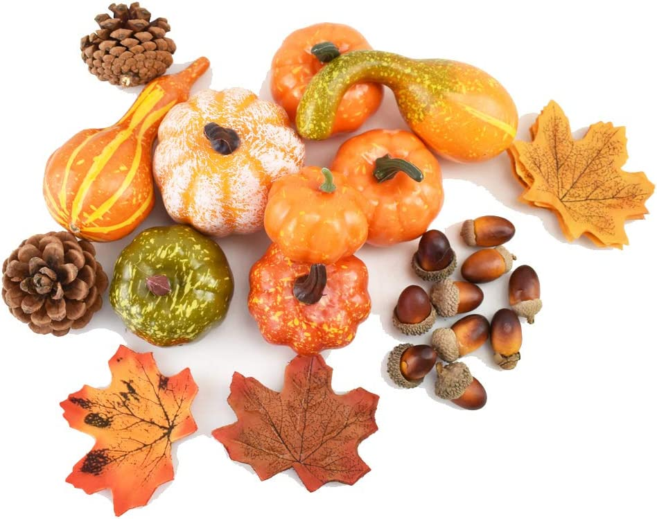 ZYX 50PCS Mini Artificial Pumpkins, Acorns Pine Cones, Maple Leaves Fall Harvest Decorations for Halloween Thanksgiving Party Fall Supplies Home Table Decoration