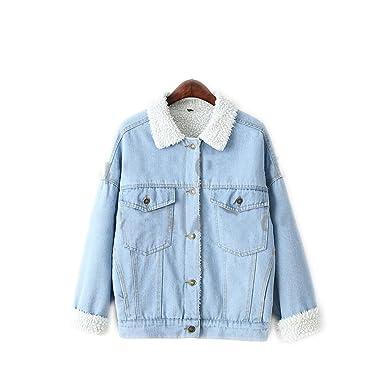 Winter Fur Denim Jacket Women Bomber Washed Blue Jeans Jacket At