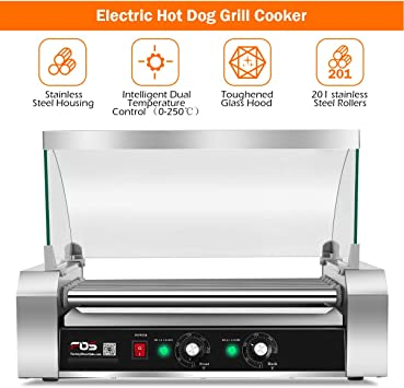 Costway Commercial 18//30 Hot Dog Hotdog 7//11 Roller Grill Cooker Machine w// Cove