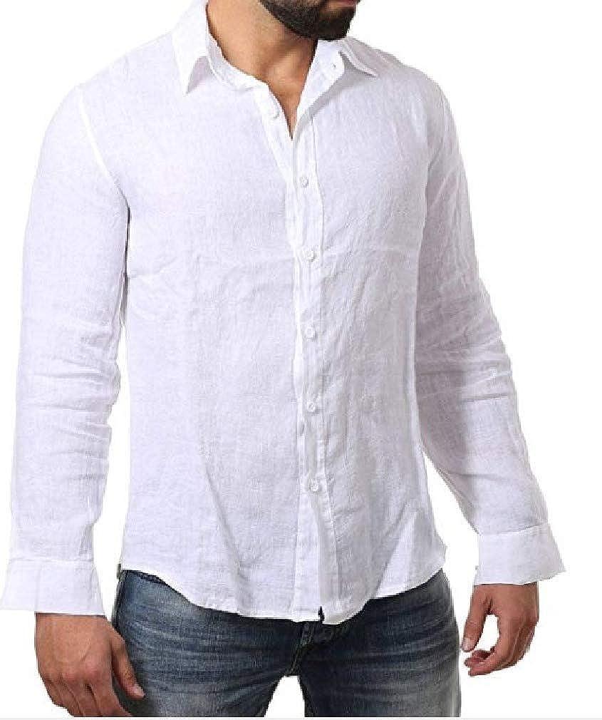 Mfasica Men Lightweight Long Sleeve Button Up Linen Cotton Dress Shirts