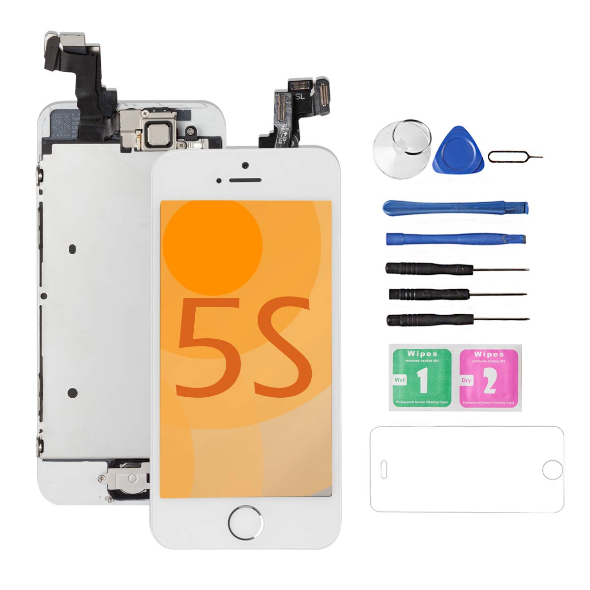 for iPhone 5S/5SE Screen Replacement [White] Full Assembly with Home Button,Camera, Drscreen LCD Display Touch Screen Digitizer Replacement for A1533,A1457,A1453,A1530, A1723,A1662,A1724