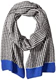 Sofia Cashmere Women's Two Color Thermal Scarf with Contrast Trim, Cobalt Combo, One Size