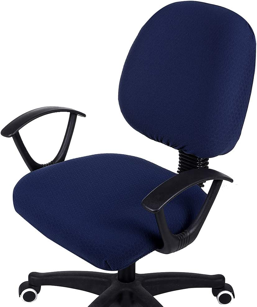 smiry Office Computer Chair Covers, Stretch Jacquard Universal Desk Rotating Chair Slipcovers Protector, Seat Cover + Backrest Cover, Navy Blue