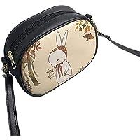 Korean Fashion Cute Cartoon Printed Women Single Shoulder Bag Small Size Casual Soft PU Leather Lady Messenger Bag