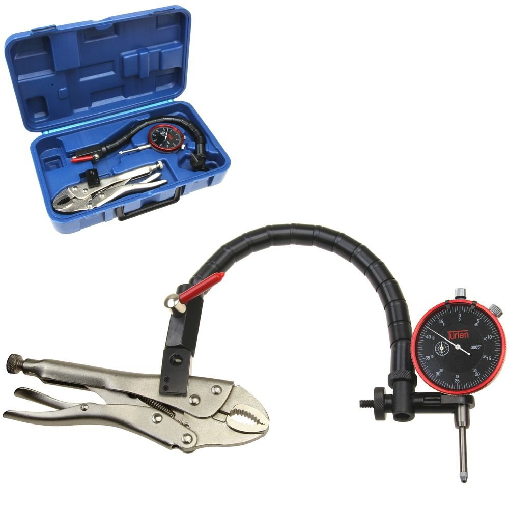 T/ürlen Disc Brake Rotor and Ball Joint Runout Gauge Set Dial Indicator 1//0.0005 Flexible Arm Clamp Locking Vise w//Case