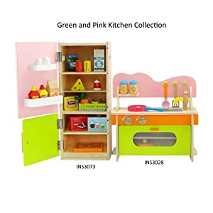 "18 Inch Doll Furniture | Kitchen Oven/Stove/Sink Combo and Refrigerator Value Pack with Over 20 Wooden Food Pieces and Accessories | Fits 18"" American Girl Dolls (Pink, Green, Orange)"