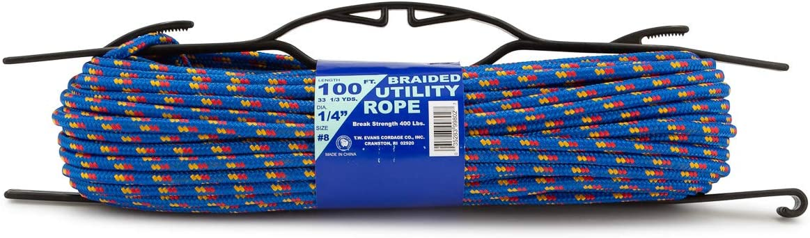 Evans Cordage Co 1//4 Inch Utility Rope 100 Ft General Purpose Utility Rope Braided Utility Cord T.W