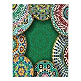 iPrint Satin Rectangular Tablecloth [ Moroccan,Oriental Motif with Mix of Hippie Retro Circle Morocco Mosaic Lines Sacred Holy Design,Multi ] Dining Room Kitchen Table Cloth Cover