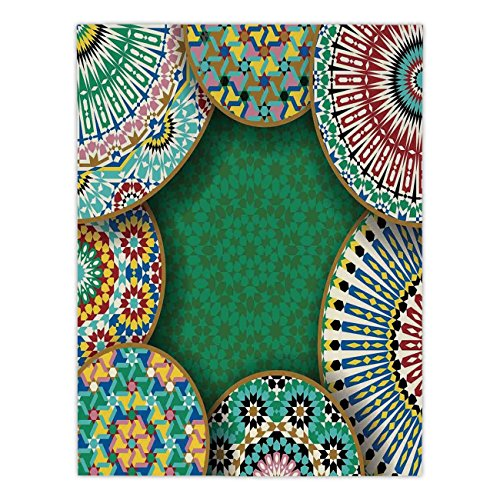 iPrint Satin Rectangular Tablecloth [ Moroccan,Oriental Motif with Mix of Hippie Retro Circle Morocco Mosaic Lines Sacred Holy Design,Multi ] Dining Room Kitchen Table Cloth Cover by iPrint