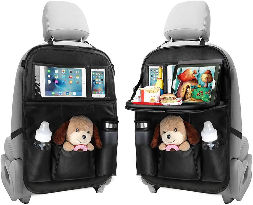 YZCX Car Organizer PU Leather Seat Back Protector with Tray Table and Touch Screen Tablet Holder 1 Pack Waterproof Kids Kick Mat Universal Car Storage Organizer