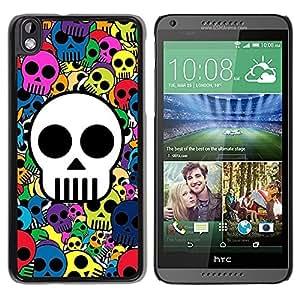 PC/Aluminum Funda Carcasa protectora para HTC DESIRE 816 Skull Wallpaper Colorful Pirate Drawing / JUSTGO PHONE PROTECTOR