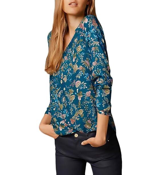 HaiDean Camisas Mujer Elegantes Vintage Estampado Flores Blusas Manga Larga V Modernas Casual Cuello Irregular Asimétrica Moda Casual Primavera Otoño Tops ...