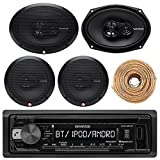 Kenwood KDCBT21 Car Bluetooth Radio USB AUX CD Player Receiver - Bundle Combo With 2x Alpine 6.5'' 80W 2-Way Coaxial Car Speakers + 2x 6x9 Inch 280W Black Speaker + 4-Channel Amplifier + Amp Kit