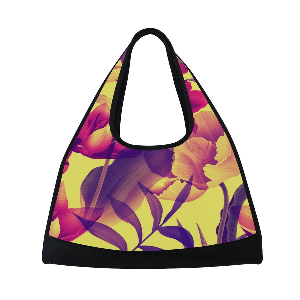 Gym Bag Sports Holdall Tropical Flower Leaf Canvas Shoulder Bag Overnight Travel Bag for Men and Women